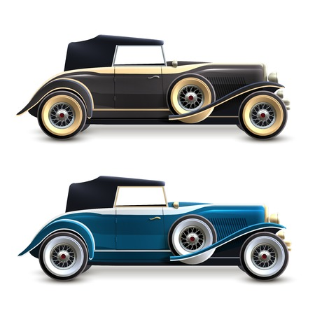 antique car: Black and blue retro car profile decorative icons set isolated vector illustration Illustration