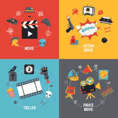 funny movies: Film design concept set with action pirate movie triller flat icons isolated vector illustration