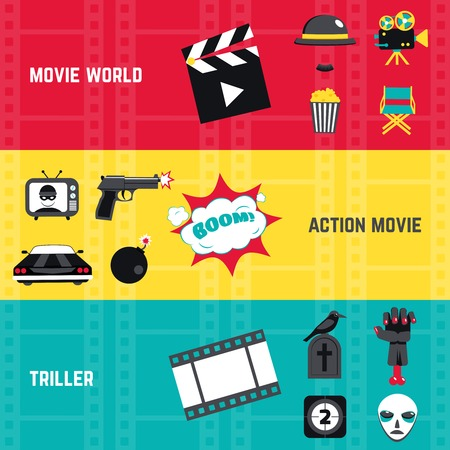 action movie: Film horizontal banner set with action movie and triller elements isolated vector illustration Illustration