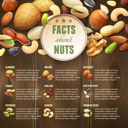 frutos secos: Mezcla las nueces crudas Natural comida en el fondo de madera ilustraci�n vectorial
