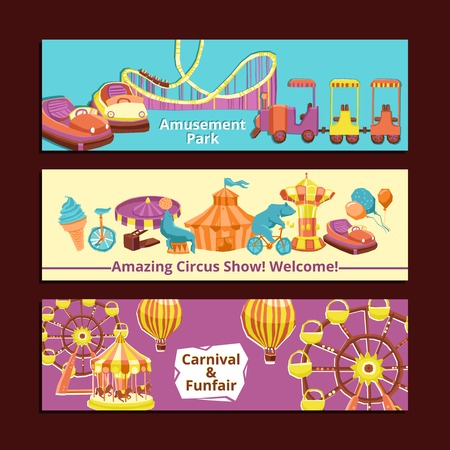 Amusement park circus show and carnival horizontal banners set isolated vector illustration