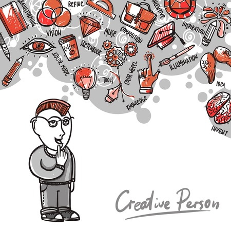 denkender mensch: Kreativen Prozess Konzept mit denkenden Menschen und Skizze Idee Symbole Vektor-Illustration