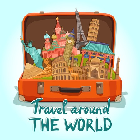 Open tourist suitcase with world heritage international landmarks set vector illustration Иллюстрация