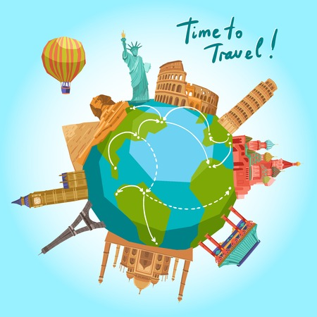 Travel background with world landmarks around the globe vector illustration Çizim