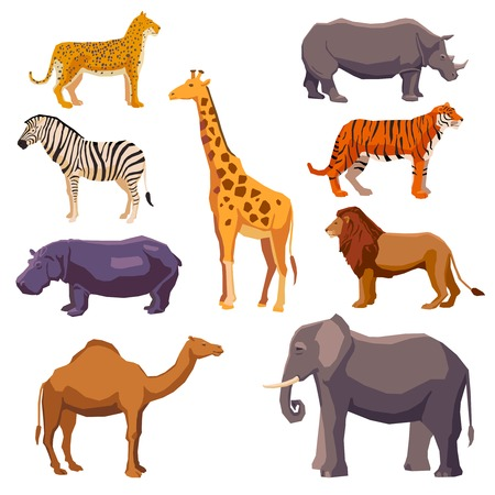camels: Africa animal decorative set with leopard zebra hippo giraffe camel elephant lion tiger rhino isolated vector illustration