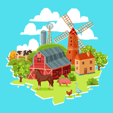 chiken: Farm multicolored concept with barn windmill cow pig goose chicken haystack trees vector illustration