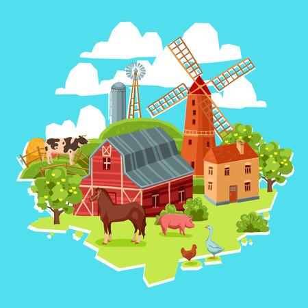 haystack: Farm multicolored concept with barn windmill cow pig goose chicken haystack trees vector illustration