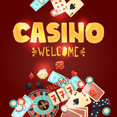poker: Casino gambling poster with poker cards dice roulette domino chips slot machine vector illustration