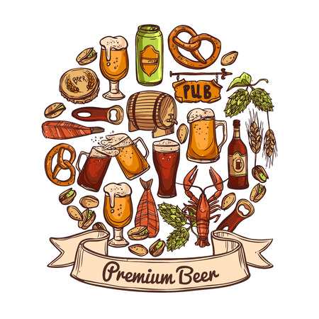 can opener: Premium beer concept sketch with jugs can opener bottle cask cap snacks hops nuts crayfish and shrimps vector illustration Illustration