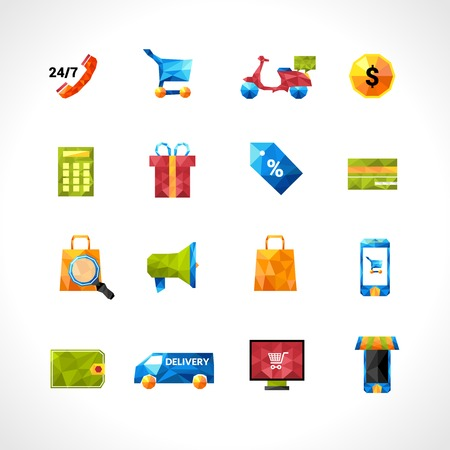people icon set: E-commerce online shopping and delivery polygonal icons set isolated vector illustration