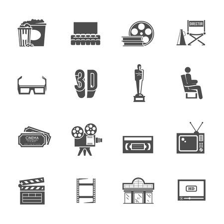 teatro: Premio ganar retro iconos negros de producción de cine y proyector de cine teatro establecidos con el resumen ilustración vectorial aislado