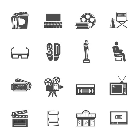 film shooting: Prize winning film production and movie theater projector retro black icons set with abstract isolated vector illustration Illustration
