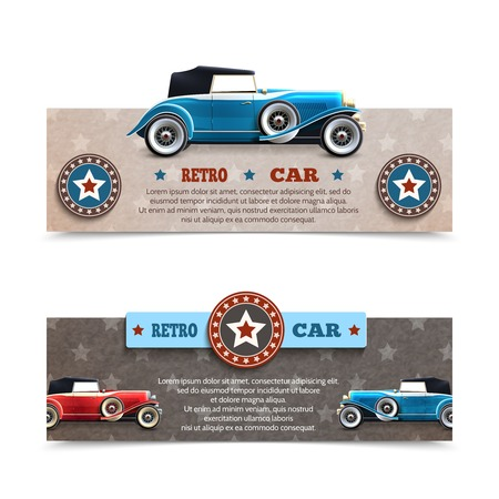 cabriolet: Retro car banners set with cabriolet auto collection isolated vector illustration Illustration