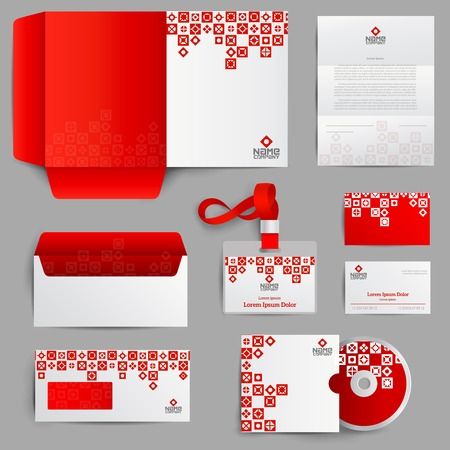 corporate brochure: Corporate identity red set with realistic paper stationery objects isolated vector illustration