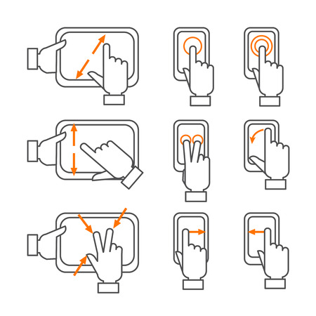 gestures: Smartphone gestures with touchscreen orange black outline icons set flat isolated vector illustration Illustration
