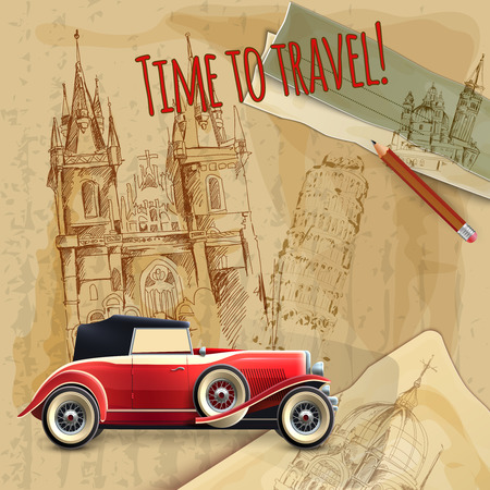tagline: Europe time to travel tagline with classic car on architecture background vintage poster vector illustration
