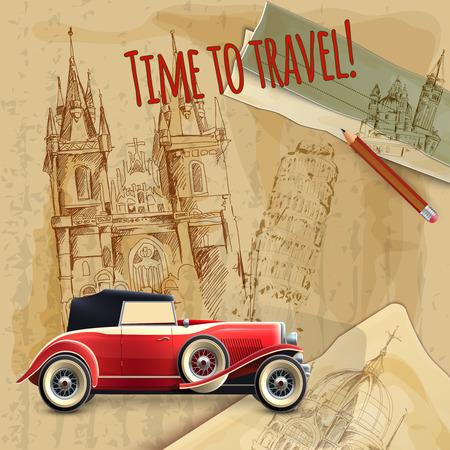 voyage vintage: Temps, l'Europe de slogan voyager avec voiture classique sur l'architecture fond affiche vintage illustration vectorielle