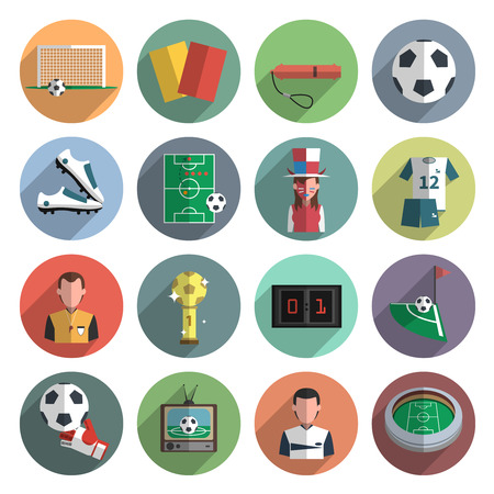 arquero de futbol: Deporte fútbol iconos redondos plana establecen con bola esquina y sombra aislada vectorial aislados ilustración abstracta marcador Vectores