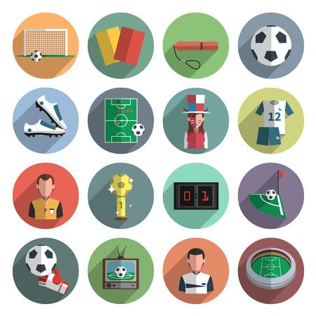 Voetbal sport plat rond pictogrammen instellen met hoek bal en scorebord abstract schaduw geïsoleerd vector geïsoleerde illustratie Stock Illustratie