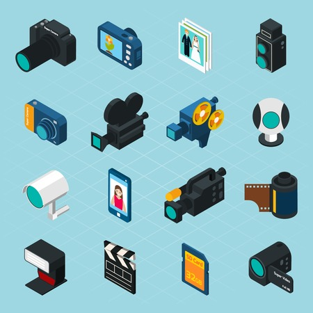 video reel: Isometric photo and video icons set with professional camera and equipment isolated vector illustration