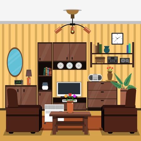 Wohnzimmer Kamin Innenraum Konzept Mit Flach Drinnen Mbel Icons Vektor Illustration