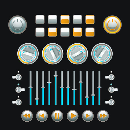and technique: Computer and analog technique button set colored isolated vector illustration