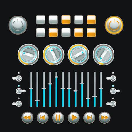 techniek: Computer en analoge techniek knop set gekleurde geïsoleerd vector illustratie