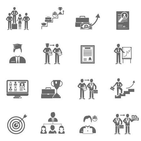 Carrièreladder succes en leiderschap zwarte pictogrammen set geïsoleerde vector illustratie