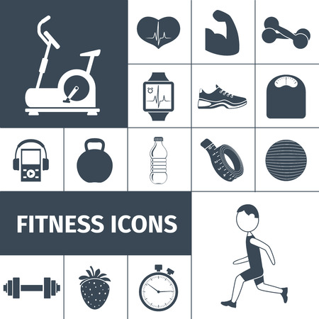Fitness workout equipment and healthy life style activities and accessories black icons set  abstract isolated vector illustration