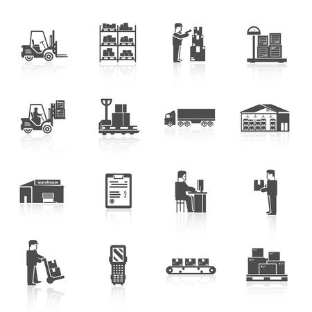 Magazijn zwarte pictogrammen set met heftruck winkelwagen pallet geïsoleerde vector illustratie Stock Illustratie