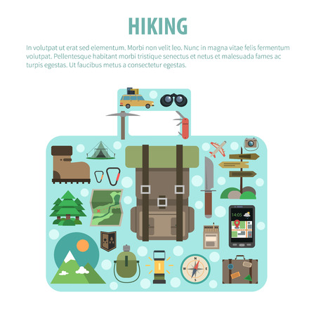 business survival: Outdoor active hiking vacation tours advertisement flat icons composition in suitcase luggage shape banner abstract vector illustration