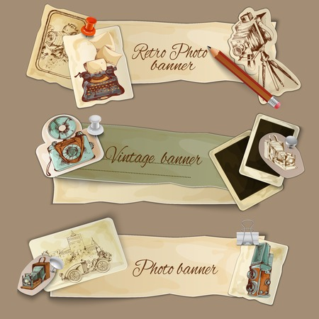 Paper photo banners set with retro photography camera and cards isolated vector illustration Stock Illustratie