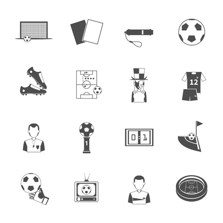 ref: Soccer sport black icons set with referee umpire whistle and goalkeeper glove abstract isolated vector isolated illustration.  Illustration