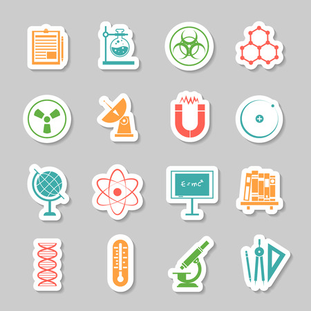 radioactivity: Physics chemistry science  research stickers set with telescope pictogram and radioactivity warning sign abstract isolated vector illustration