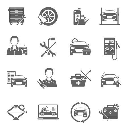 mecanico: Mecánico y técnico de coche de trabajo Auto iconos negros fijaron aislado ilustración vectorial Vectores