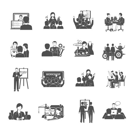 Workshop zwarte pictogrammen set met geïsoleerde interactieve zakelijke bijeenkomst symbolen vector illustratie Stock Illustratie