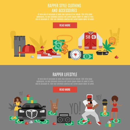 rap music: Rap music horizontal banner set with rapper lifestyle accessories isolated vector illustration