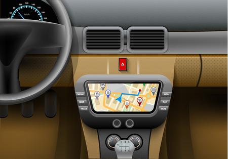 navegacion: Interior del coche realista con sistema de navegación de automóviles y GPS ilustración mapa vectorial