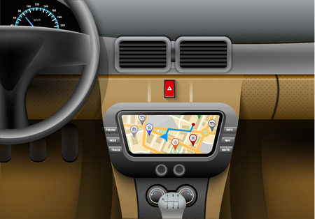 car navigation: Realistic car interior with auto navigation system and gps map vector illustration