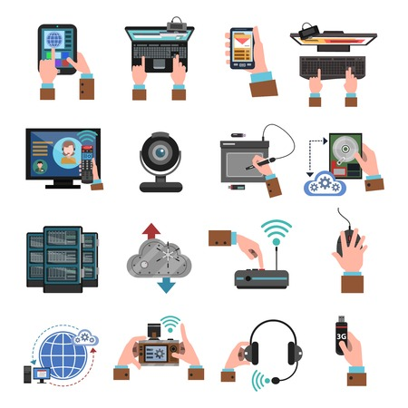 cloud computing technologies: It devices and cloud computing icons flat isolated vector illustration Illustration