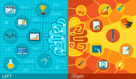 brain function: Left and right half brain difference math logic or art and creativity function in varied colors and icons flat paper Illustration