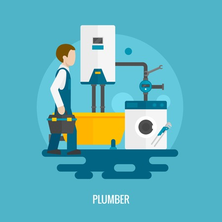 plumber tools: Plumber with washing machine bath and pipe system icon flat vector illustration