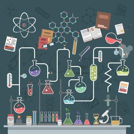experimento: Concepto de ciencia de laboratorio con frascos planos y símbolos física ilustración vectorial