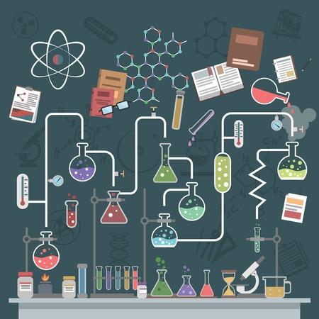 laboratory research: Science lab concept with flat flasks and physics symbols vector illustration