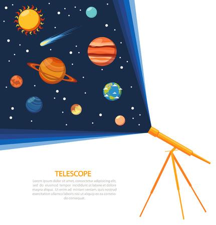 astronomie: Teleskop mit Sonnensystem Kometen und Sterne-Konzept poster Flach Vektor-Illustration Illustration