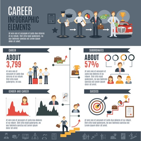 ladder: Career infographics set with employment and promotion elements and charts vector illustration Illustration