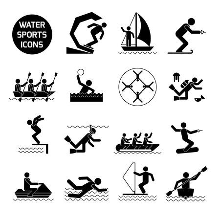 water polo: Los deportes acuáticos iconos conjunto negro con actividades y juegos extremos símbolos aislados ilustración vectorial Vectores