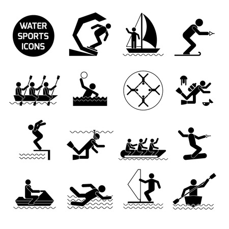 water polo: Water sports icons black set with extreme activities and games symbols isolated vector illustration