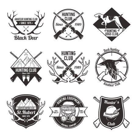 cazador: La caza de la vendimia con pato perro de montaña y la pistola etiquetas ilustración vectorial aislado Vectores