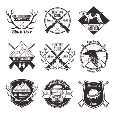 Vintage hunting with dog duck mountain and gun labels set isolated vector illustration Vector
